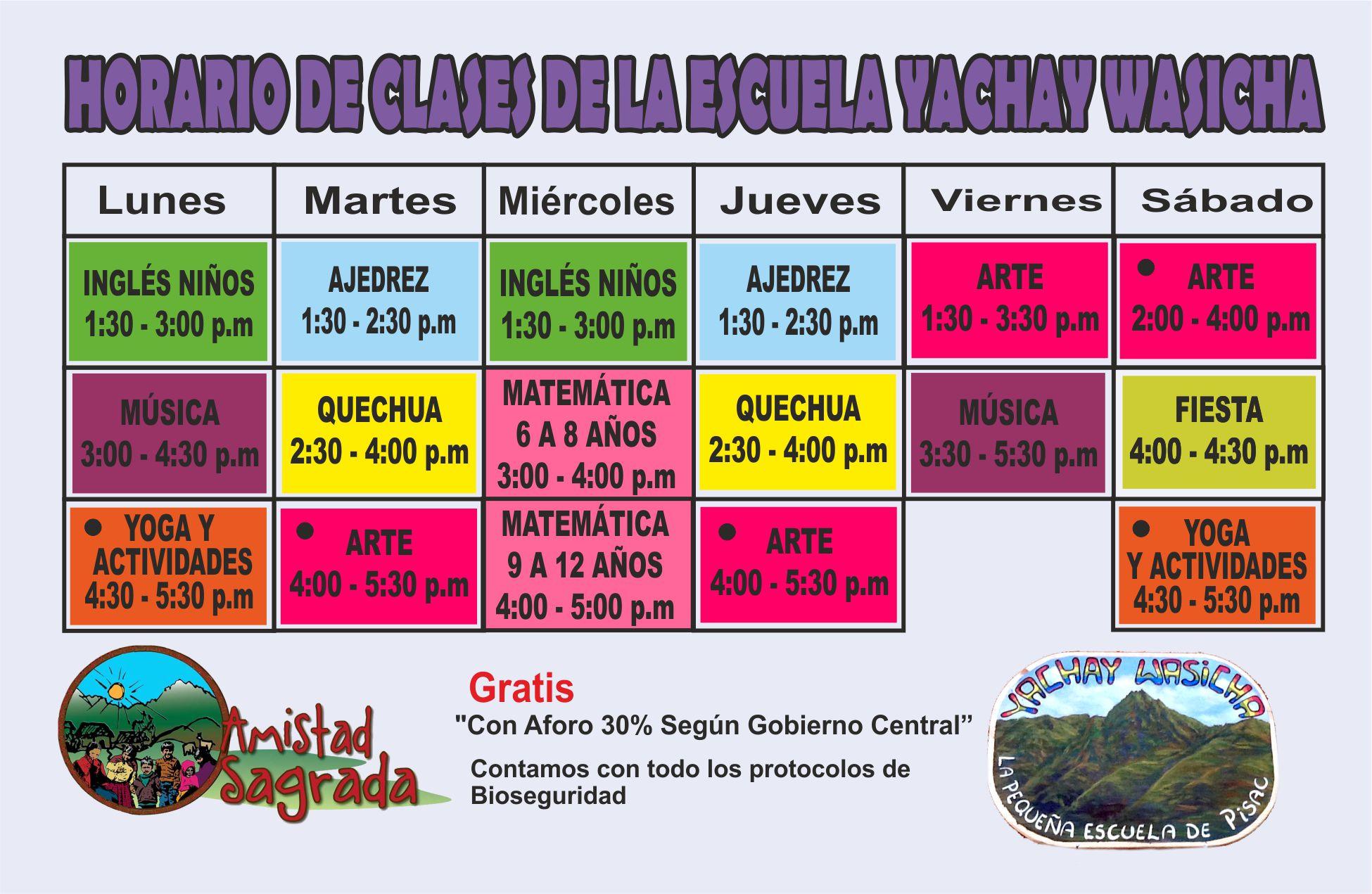 Amistad Sagrada After-School schedule